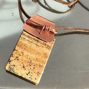 Desert Jasper  Pendant Necklace Copper Wrapped